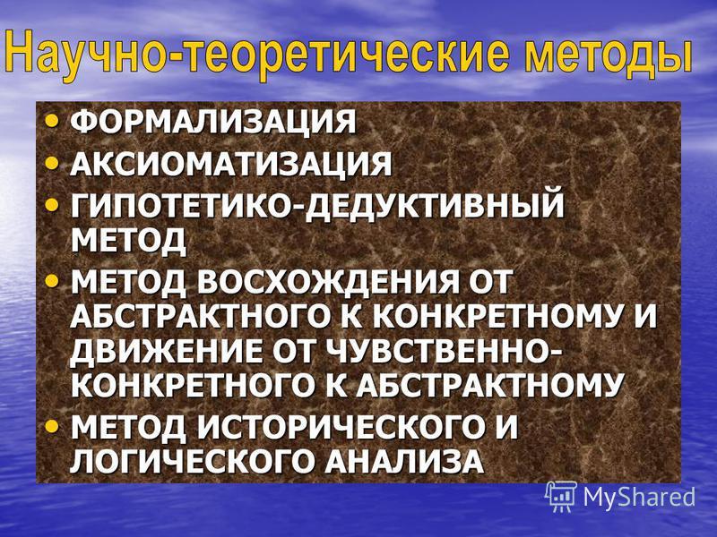 ФОРМАЛИЗАЦИЯ ФОРМАЛИЗАЦИЯ АКСИОМАТИЗАЦИЯ АКСИОМАТИЗАЦИЯ ГИПОТЕТИКО-ДЕДУКТИВНЫЙ МЕТОД ГИПОТЕТИКО-ДЕДУКТИВНЫЙ МЕТОД МЕТОД ВОСХОЖДЕНИЯ ОТ АБСТРАКТНОГО К КОНКРЕТНОМУ И ДВИЖЕНИЕ ОТ ЧУВСТВЕННО- КОНКРЕТНОГО К АБСТРАКТНОМУ МЕТОД ВОСХОЖДЕНИЯ ОТ АБСТРАКТНОГО К