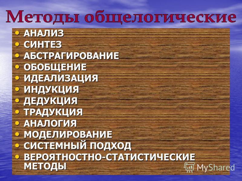 АНАЛИЗ АНАЛИЗ СИНТЕЗ СИНТЕЗ АБСТРАГИРОВАНИЕ АБСТРАГИРОВАНИЕ ОБОБЩЕНИЕ ОБОБЩЕНИЕ ИДЕАЛИЗАЦИЯ ИДЕАЛИЗАЦИЯ ИНДУКЦИЯ ИНДУКЦИЯ ДЕДУКЦИЯ ДЕДУКЦИЯ ТРАДУКЦИЯ ТРАДУКЦИЯ АНАЛОГИЯ АНАЛОГИЯ МОДЕЛИРОВАНИЕ МОДЕЛИРОВАНИЕ СИСТЕМНЫЙ ПОДХОД СИСТЕМНЫЙ ПОДХОД ВЕРОЯТНОСТ