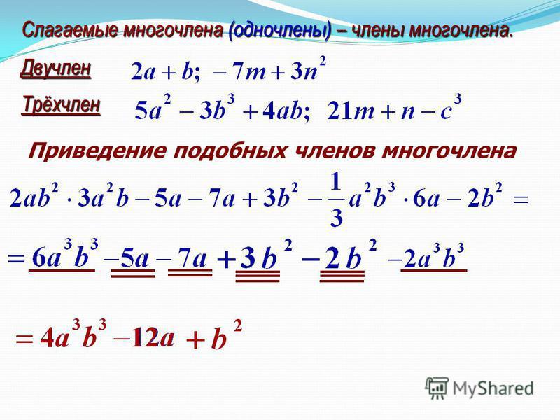 Слагаемые многочлена (одночлены) – члены многочлена. Двучлен Трёхчлен Приведение подобных членов многочлена