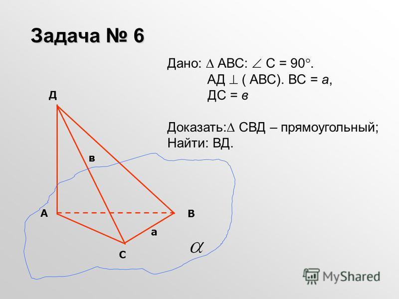 Дано: АВС: С = 90. АД ( АВС). ВС = а, ДС = в Доказать: СВД – прямоугольный; Найти: ВД. Задача 6 С В А Д а в