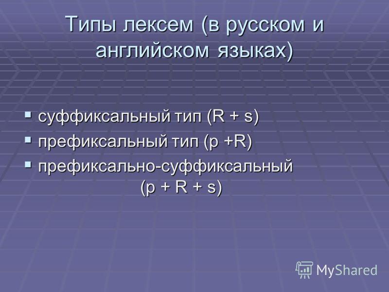 Типы лексем (в русском и английском языках) суффиксальный тип (R + s) суффиксальный тип (R + s) префиксальный тип (p +R) префиксальный тип (p +R) префиксально-суффиксальный (p + R + s) префиксально-суффиксальный (p + R + s)