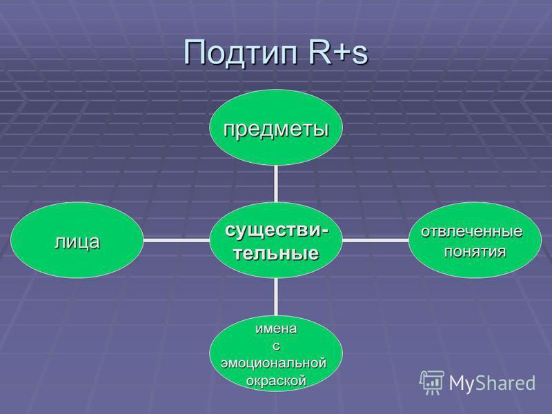 Подтип R+s существи-телльные предметы отвлеченные понятия имена с эмоциональной окраской лица