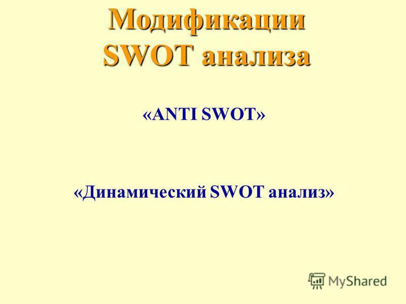 Модификации SWOT анализа «ANTI SWOT» «Динамический SWOT анализ»