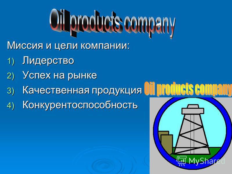 . Миссия и цели компании: 1) Лидерство 2) Успех на рынке 3) Качественная продукция 4) Конкурентоспособность