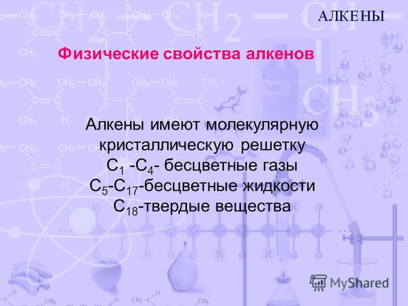 Алкены имеют молекулярную кристаллическую решетку С 1 -С 4 - бесцветные газы С 5 -С 17 -бесцветные жидкости С 18 -твердые вещества Физические свойства алкенов