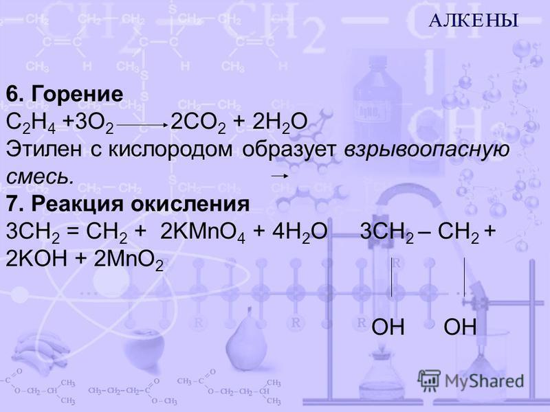 6. Горение C 2 H 4 +3O 2 2CO 2 + 2H 2 O Этилен с кислородом образует взрывоопасную смесь. 7. Реакция окисления 3СН 2 = СН 2 + 2KMnO 4 + 4H 2 O 3CH 2 – CH 2 + 2KOH + 2MnO 2 OH OH