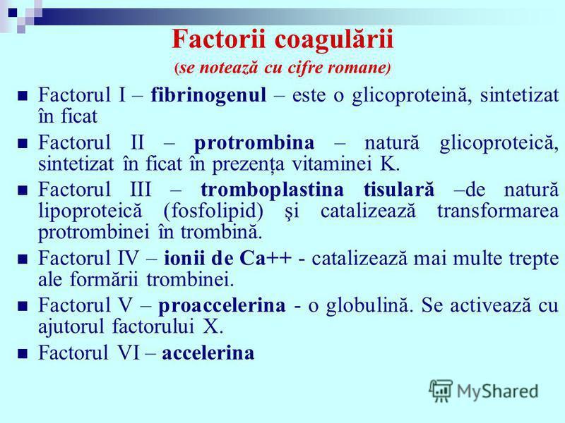 Factorii coagulării ( se notează cu cifre romane ) Factorul I – fibrinogenul – este o glicoproteină, sintetizat în ficat Factorul II – protrombina – natură glicoproteică, sintetizat în ficat în prezenţa vitaminei K. Factorul III – tromboplastina tisu