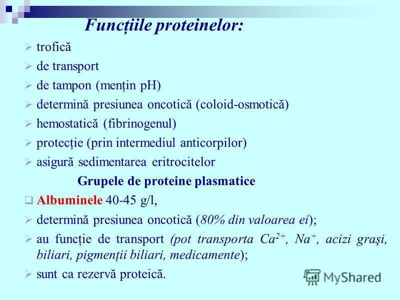 Funcţiile proteinelor: trofică de transport de tampon (menţin pH) determină presiunea oncotică (coloid-osmotică) hemostatică (fibrinogenul) protecţie (prin intermediul anticorpilor) asigură sedimentarea eritrocitelor Grupele de proteine plasmatice Al