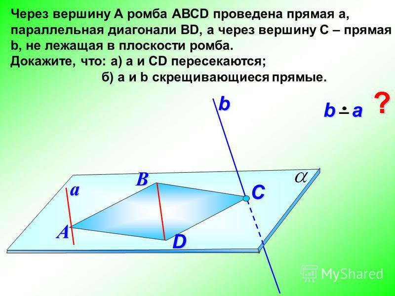Через вершину А ромба АВСD проведена прямая а, параллельная диагонали ВD, а через вершину С – прямая b, не лежащая в плоскости ромба. Докажите, что: а) а и СD пересекаются; б) а и b скрещивающиеся прямые. В b a b aА C ? abD