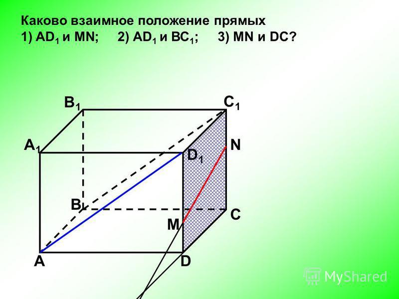 АD С В B1B1 С1С1 D1D1 А1А1 Каково взаимное положение прямых 1) AD 1 и МN; 2) AD 1 и ВС 1 ; 3) МN и DC? N M
