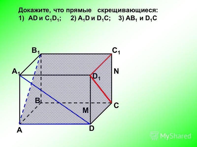А D С В B1B1 С1С1 D1D1 А1А1 Докажите, что прямые скрещивающиеся: 1)AD и C 1 D 1 ; 2) A 1 D и D 1 C; 3) AB 1 и D 1 C N M