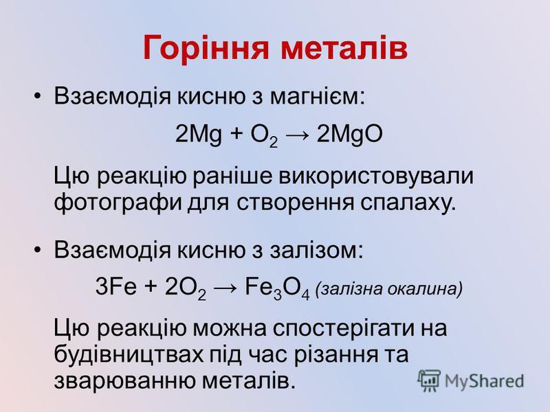Горіння металів Взаємодія кисню з магнієм: 2Mg + О 2 2MgO Цю реакцію раніше використовували фотографи для створення спалаху. Взаємодія кисню з залізом: 3Fe + 2О 2 Fe 3 O 4 (залізна окалина) Цю реакцію можна спостерігати на будівництвах під час різанн