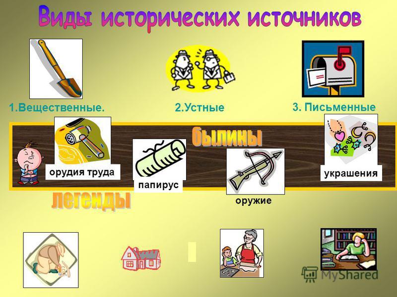 1.Вещественные. 2. Устные 3. Письменные орудия труда папирус оружие украшения