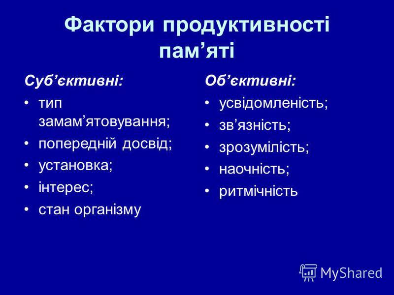 Фактори продуктивності памяті Субєктивні: тип замамятовування; попередній досвід; установка; інтерес; стан організму Обєктивні: усвідомленість; звязність; зрозумілість; наочність; ритмічність
