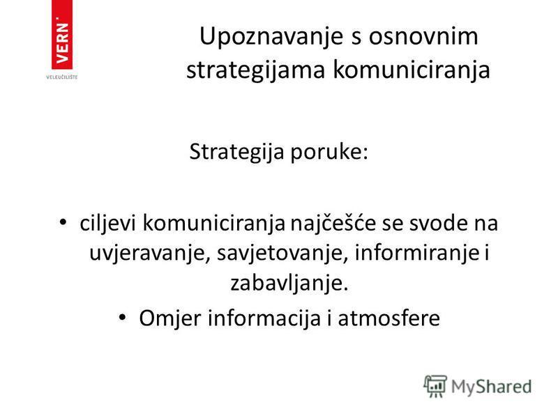 Upoznavanje s osnovnim strategijama komuniciranja Strategija poruke: ciljevi komuniciranja najčešće se svode na uvjeravanje, savjetovanje, informiranje i zabavljanje. Omjer informacija i atmosfere