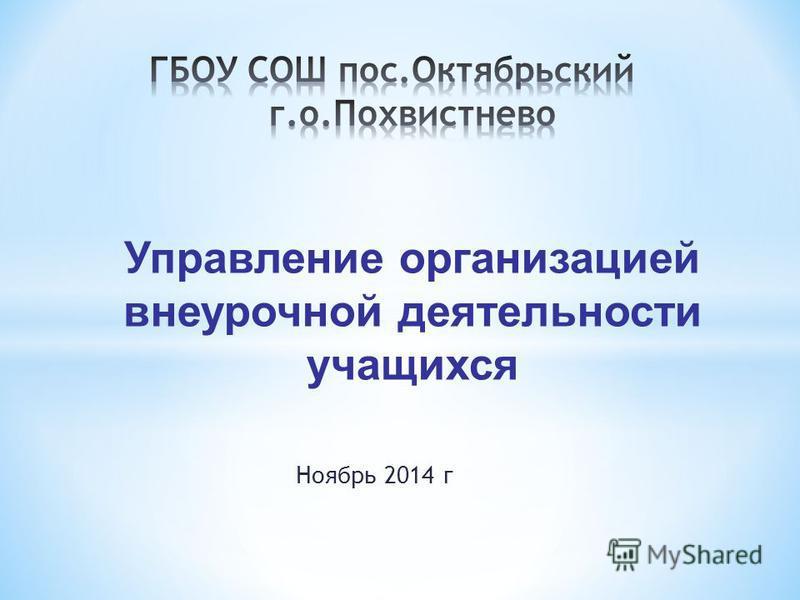 Управление организацией внеурочной деятельности учащихся Ноябрь 2014 г