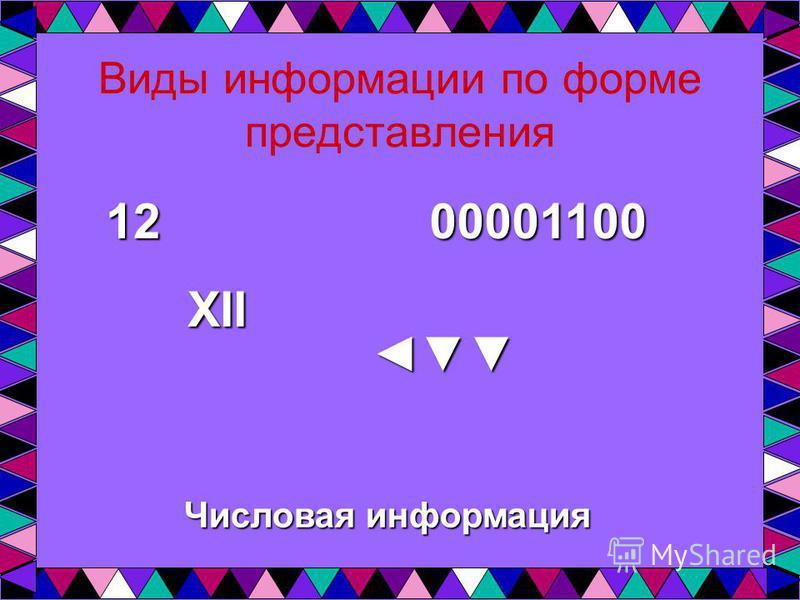 Виды информации по форме представления Числовая информация 12 XII 00001100