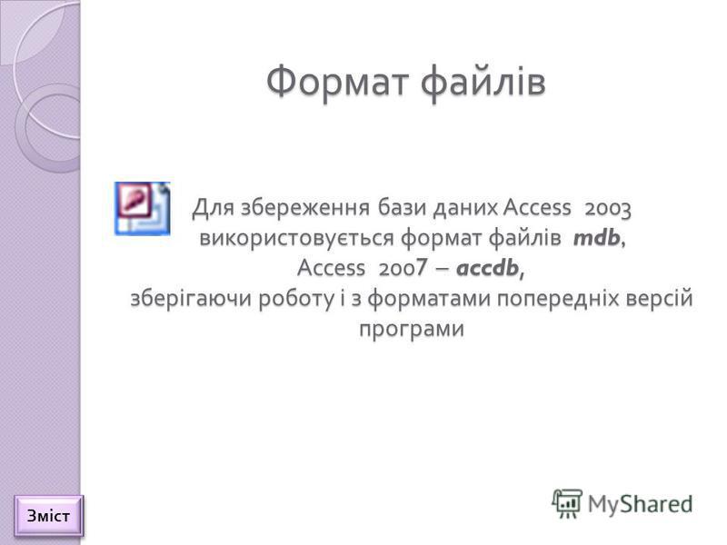 Формат файлів Для збереження бази даних Access 2003 використовується формат файлів mdb, Access 2007 – accdb, зберігаючи роботу і з форматами попередніх версій програми Зміст