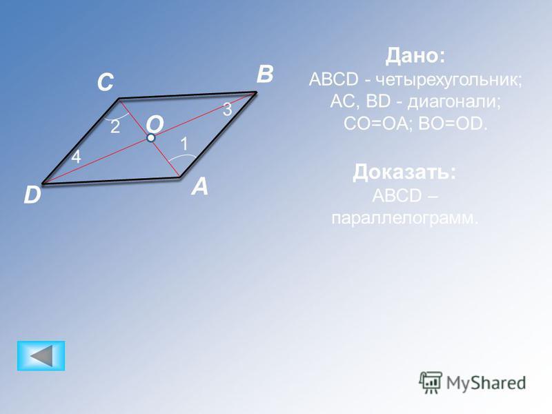 D C B A O 2 1 3 4 Дано: АВСD - четырехугольник; AC, BD - диагонали; CO=OA; BO=OD. Доказать: АВСD – параллелограмм.
