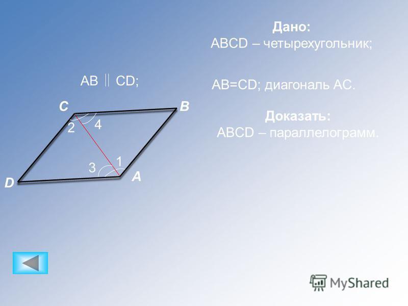 A CB D 1 3 4 2 Дано: ABCD – четырехугольник; ABCD; AB=CD; диагональ AC. Доказать: ABCD – параллелограмм.