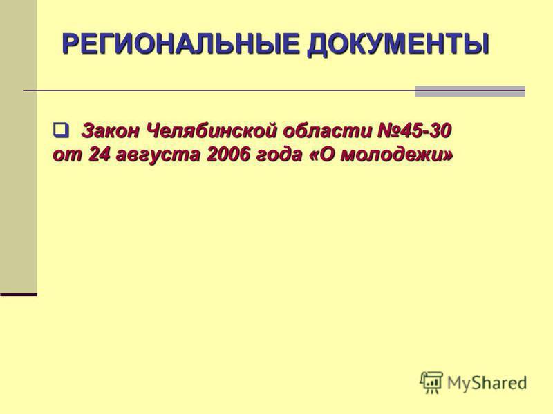РЕГИОНАЛЬНЫЕ ДОКУМЕНТЫ Закон Челябинской области 45-30 Закон Челябинской области 45-30 от 24 августа 2006 года «О молодежи»