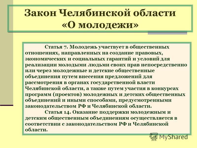 Закон Челябинской области «О молодежи» Статья 7. Молодежь участвует в общественных отношениях, направленных на создание правовых, экономических и социальных гарантий и условий для реализации молодыми людьми своих прав непосредственно или через молоде