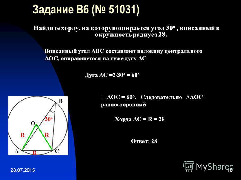 28.07.201510 Задание B6 ( 51031) Найдите хорду, на которую опирается угол 30 о, вписанный в окружность радиуса 28. 30 о В О СА Вписанный угол АВС составляет половину центрального АОС, опирающегося на туже дугу АС АОС = 60 о. Следовательно АОС - равно