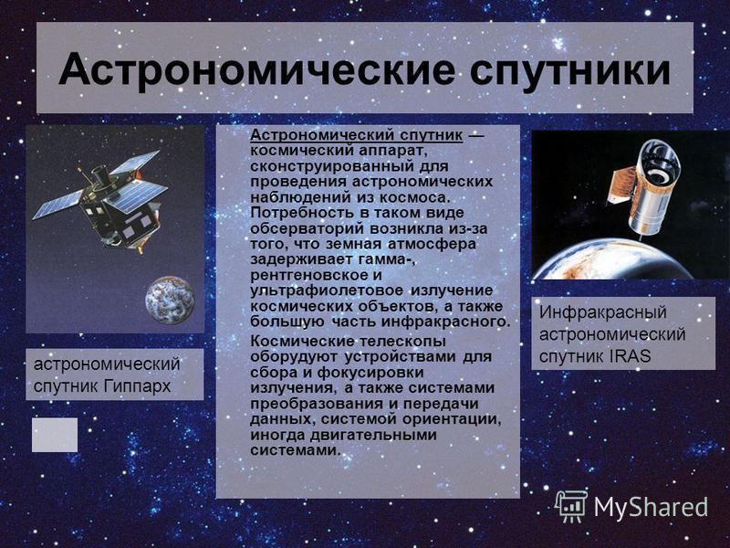 Астрономические спутники Астрономический спутник космический аппарат, сконструированный для проведения астрономических наблюдений из космоса. Потребность в таком виде обсерваторий возникла из-за того, что земная атмосфера задерживает гамма-, рентгено