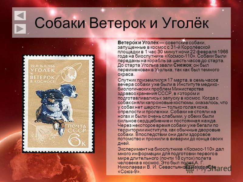 Собаки Ветерок и Уголёк Ветеро́к и Уголёк советские собаки, запущенные в космос с 31-й Королёвской площадки в 1 час 30 минут ночи 22 февраля 1966 года на биоспутнике «Космос-110». Собаки были переданы на корабль за шесть часов до старта. До старта Уг