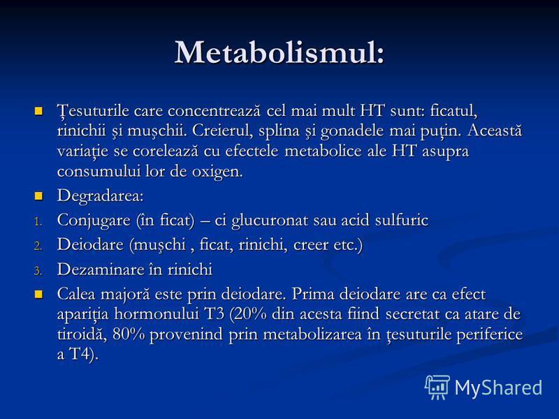 Metabolismul: Ţesuturile care concentrează cel mai mult HT sunt: ficatul, rinichii şi muşchii. Creierul, splina şi gonadele mai puţin. Această variaţie se corelează cu efectele metabolice ale HT asupra consumului lor de oxigen. Ţesuturile care concen