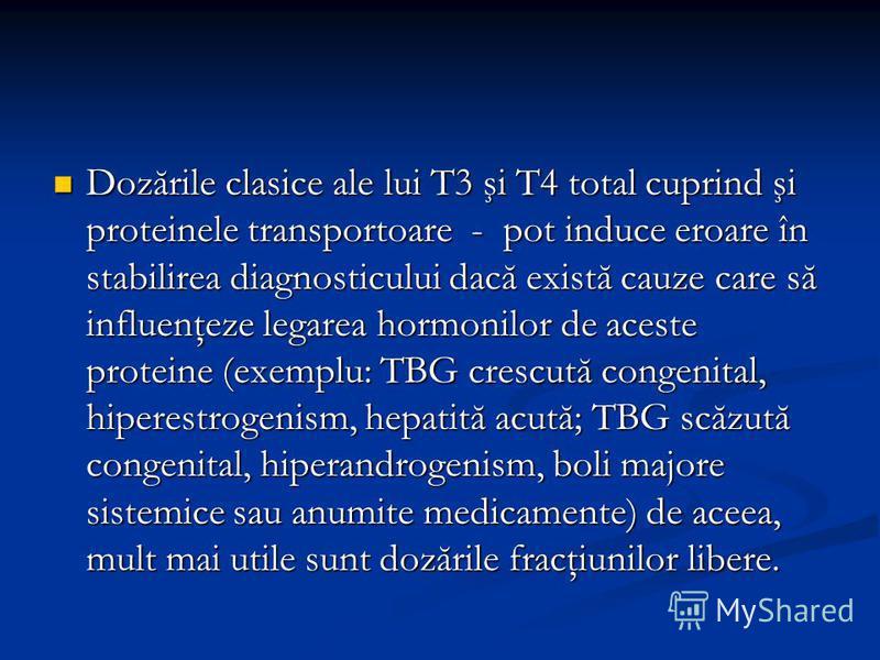 Dozările clasice ale lui T3 şi T4 total cuprind şi proteinele transportoare - pot induce eroare în stabilirea diagnosticului dacă există cauze care să influenţeze legarea hormonilor de aceste proteine (exemplu: TBG crescută congenital, hiperestrogeni
