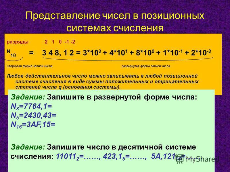 Представление чисел в позиционных системах счисления разряды 2 1 0 -1 -2 N 10 = 3 4 8, 1 2 = 3*10 2 + 4*10 1 + 8*10 0 + 1*10 -1 + 2*10 -2 Свернутая форма записи числа развернутая форма записи числа Любое действительное число можно записывать в любой