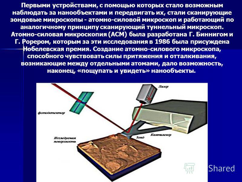 Первыми устройствами, с помощью которых стало возможным наблюдать за нано объектами и передвигать их, стали сканирующие зондовые микроскопы - атомно-силовой микроскоп и работающий по аналогичному принципу сканирующий туннельный микроскоп. Атомно-сило