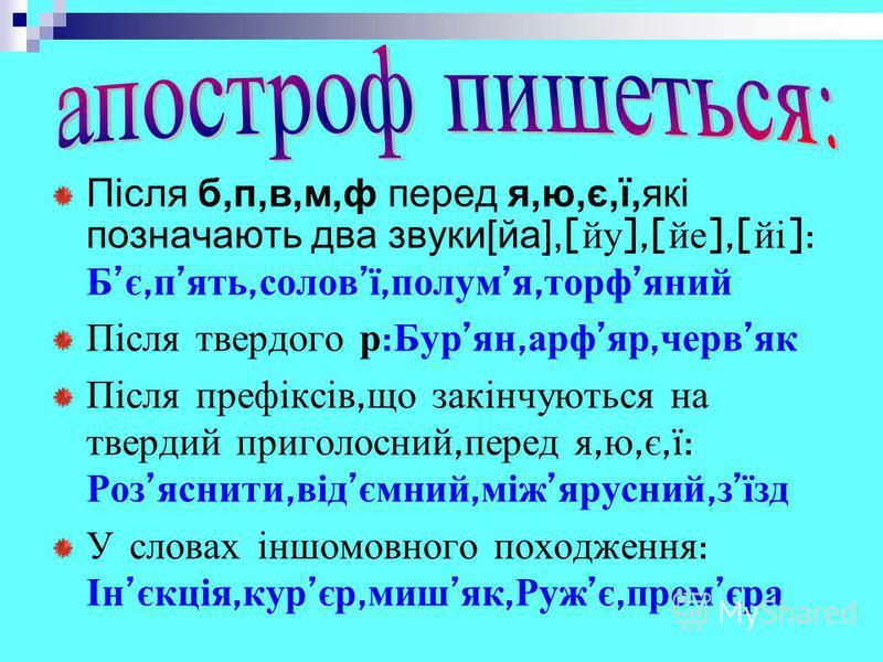 Після б,п,в,м,ф перед я,ю,є,ї,які позначають два звуки[йа], [ йу ],[ йе ],[ йі ]: Б є, п ять, солов ї, полум я, торф яний Після твердого р : Бур ян, арф яр, черв як Після префіксів, що закінчуються на твердий приголосний, перед я, ю, є, ї : Роз яснит