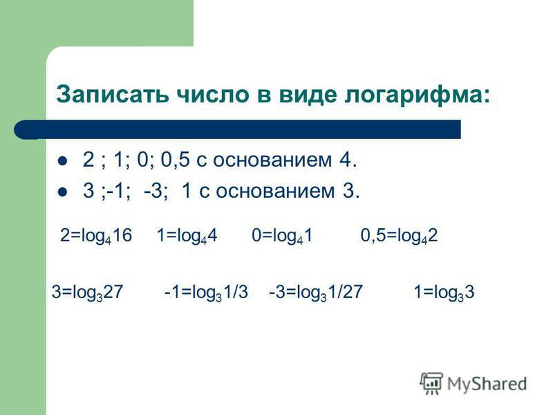 Записать число в виде логарифма: 2 ; 1; 0; 0,5 с основанием 4. 3 ;-1; -3; 1 с основанием 3. 2=log 4 161=log 4 40=log 4 10,5=log 4 2 3=log 3 27-1=log 3 1/3-3=log 3 1/271=log 3 3