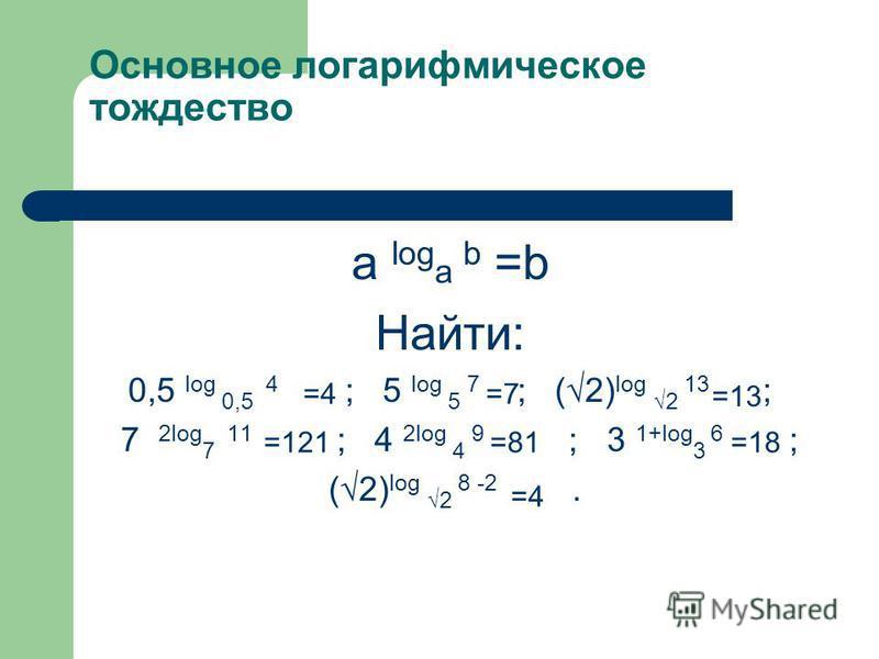 Основное логарифмическое тождество a log a b =b Найти: 0,5 log 0,5 4 ; 5 log 5 7 ; (2) log 2 13 ; 7 2log 7 11 ; 4 2log 4 9 ; 3 1+log 3 6 ; (2) log 2 8 -2. =4=7 =13 =121=81=18 =4