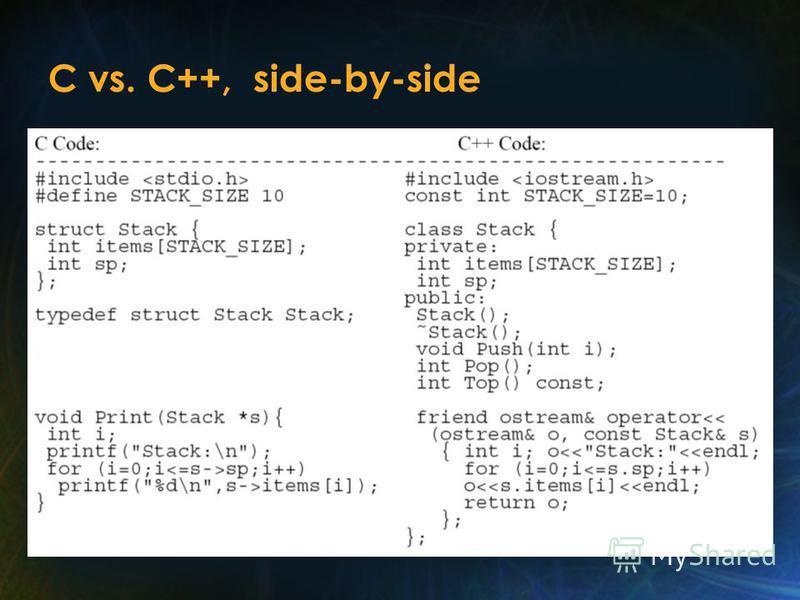 C vs. C++, side-by-side