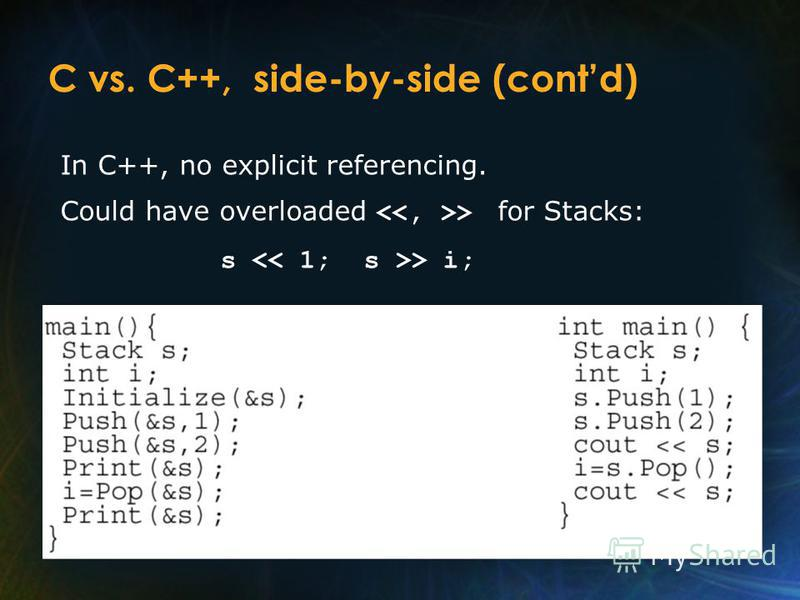 C vs. C++, side-by-side (contd) In C++, no explicit referencing. Could have overloaded > for Stacks: s > i;