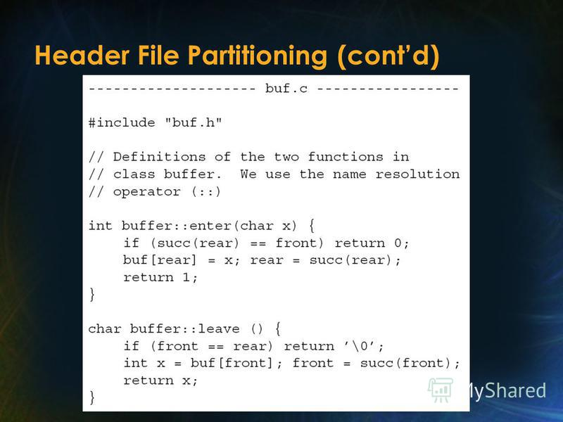 Header File Partitioning (contd)