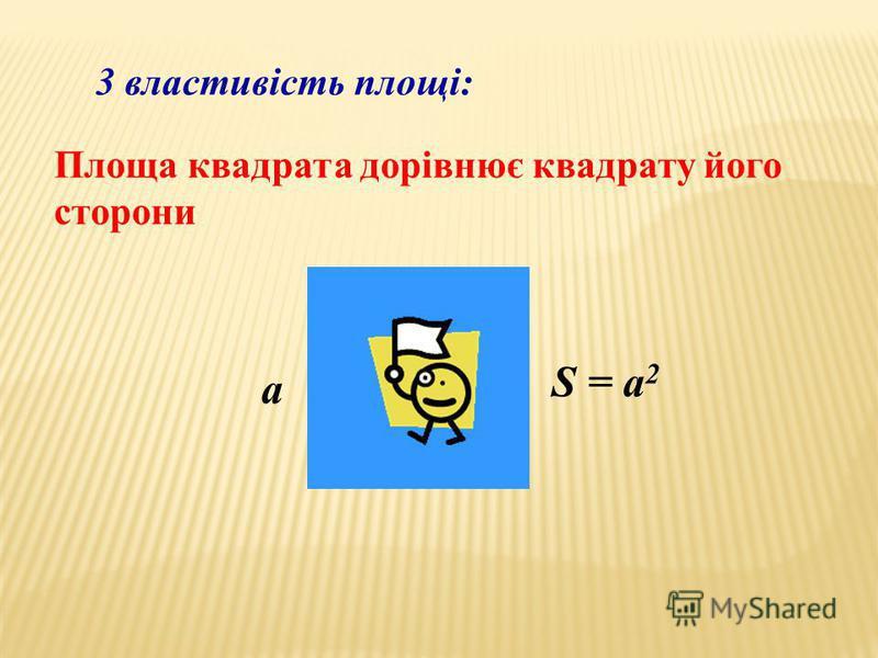 3 властивість площі: Площа квадрата дорівнює квадрату його сторони a S = a 2