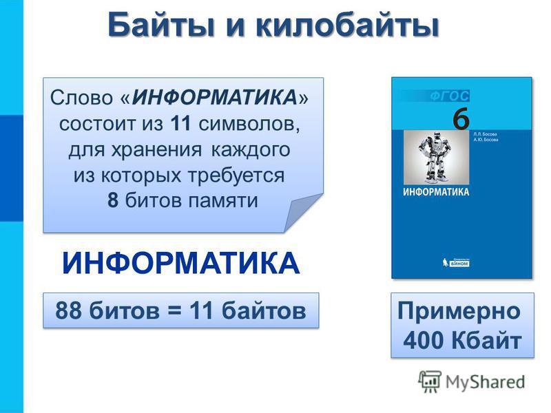 Байты и килобайты Слово «ИНФОРМАТИКА» состоит из 11 символов, для хранения каждого из которых требуется 8 битов памяти 88 битов = 11 байтов Примерно 400 Кбайт ИНФОРМАТИКА
