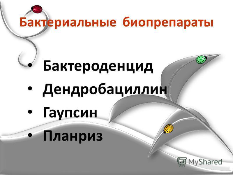 Бактериальные биопрепараты Бактероденцид Дендробациллин Гаупсин Планриз
