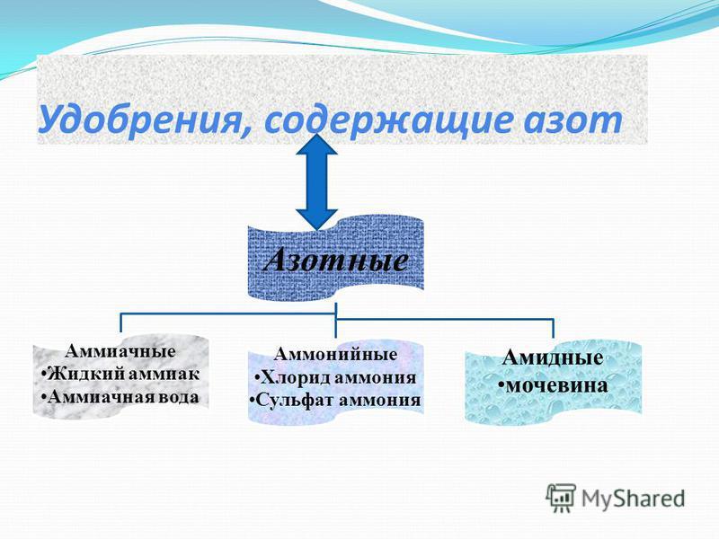 Удобрения, содержащие азот Азотные Аммиачные Жидкий аммиак Аммиачная вода Аммонийные Хлорид аммония Сульфат аммония Амидные мочевина