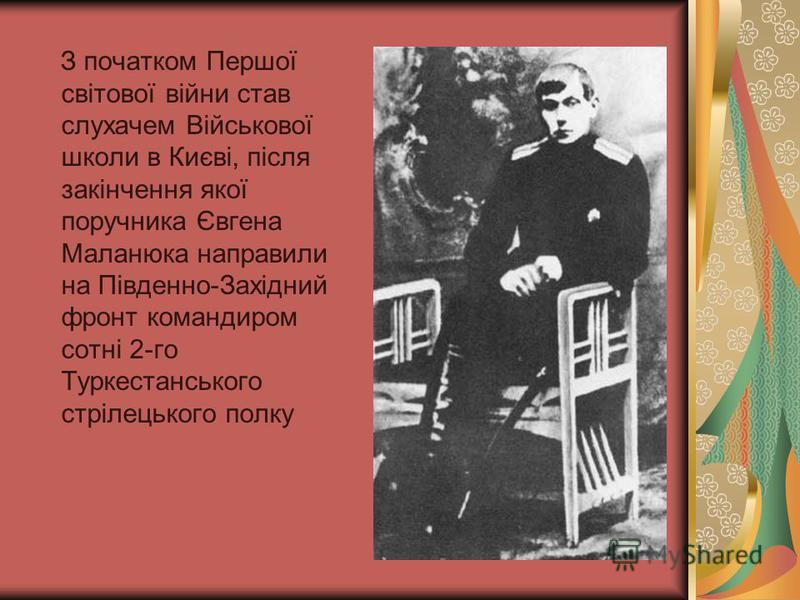 З початком Першої світової війни став слухачем Військової школи в Києві, після закінчення якої поручника Євгена Маланюка направили на Південно-Західний фронт командиром сотні 2-го Туркестанського стрілецького полку