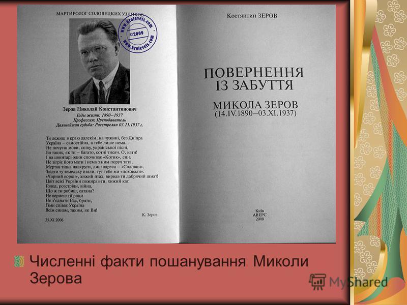 Численні факти пошанування Миколи Зерова