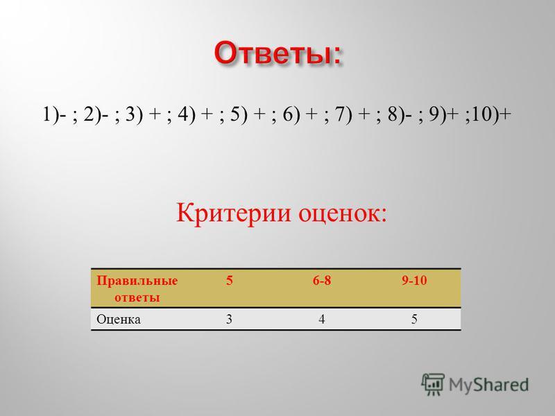 1)- ; 2)- ; 3) + ; 4) + ; 5) + ; 6) + ; 7) + ; 8)- ; 9)+ ;10)+ Критерии оценок : Правильные ответы 56-89-10 Оценка 345