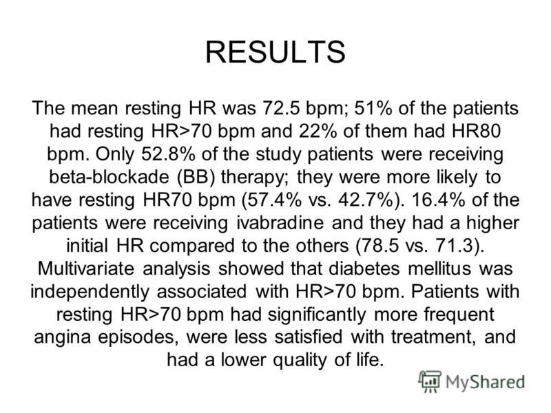 RESULTS The mean resting HR was 72.5 bpm; 51% of the patients had resting HR>70 bpm and 22% of them had HR80 bpm. Only 52.8% of the study patients were receiving beta-blockade (BB) therapy; they were more likely to have resting HR70 bpm (57.4% vs. 42