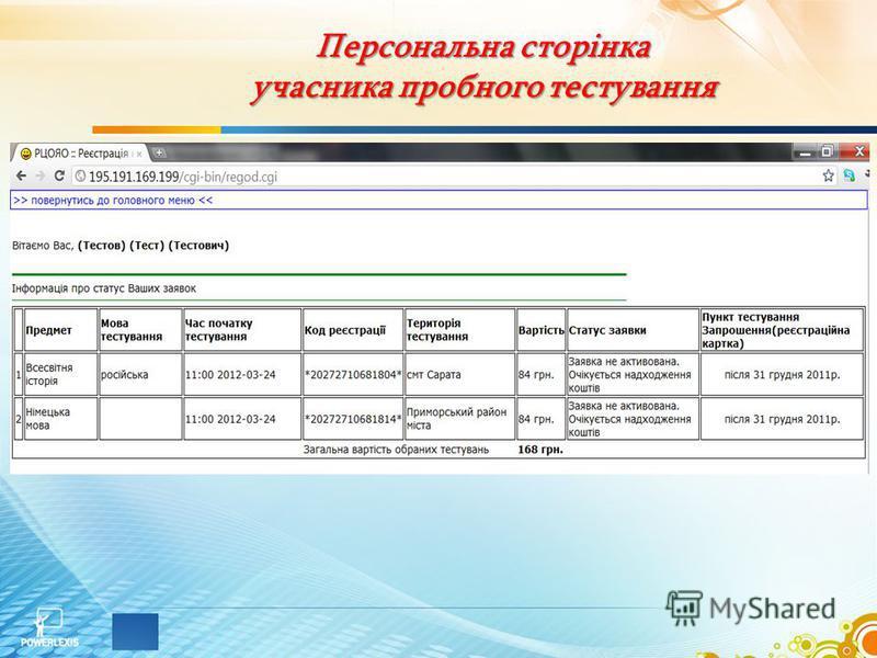 Персональна сторінка учасника пробного тестування