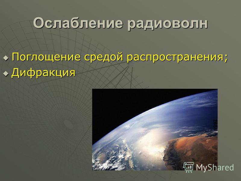 Ослабление радиоволн Поглощение средой распространения; Поглощение средой распространения; Дифракция Дифракция