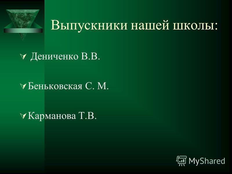 Выпускники нашей школы: Дениченко В.В. Беньковская С. М. Карманова Т.В.